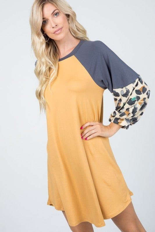 Say that You Love Me Animal Colorblock Raglan Sleeve Dress in Multiple Colors - Sizes 12-20