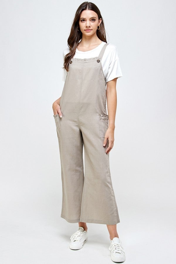 Cassidy's Favorite Taupe Linen Jumper Suit - Sizes 4-12