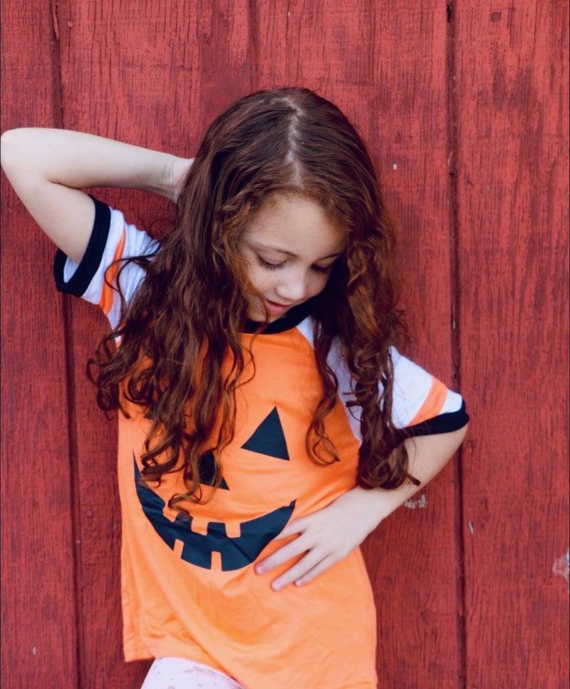 Sweet Little Pumpkin Girls Jack-o-lantern Orange Top - Sizes 6M - 8Y