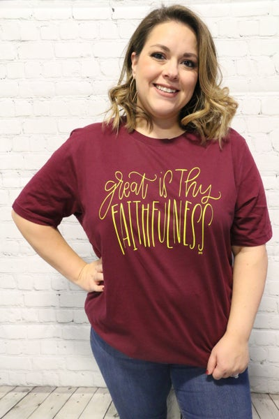 ***PRE-ORDER*** Great is Thy Faithfulness Short Sleeve Graphic Tee in Burgundy - Sizes- 4-20