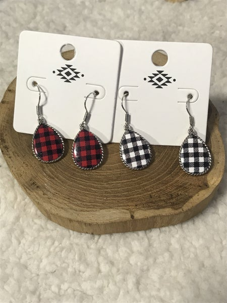 Oh So Cute Silver Small Buffalo Plaid Teardrop Earring In Multiple Colors
