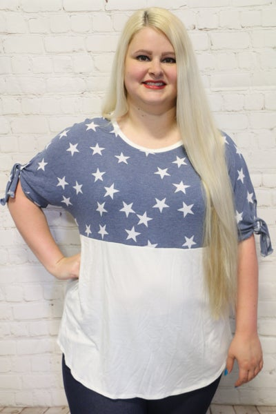 I'm Seeing Stars Blue and White Contrast Top ~ Sizes 4-20