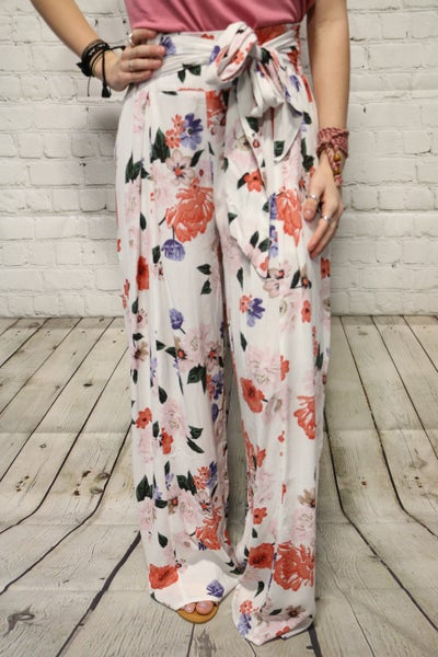 Adorable Floral Wide Leg Pants with Waist Tie in White - Sizes 4-10