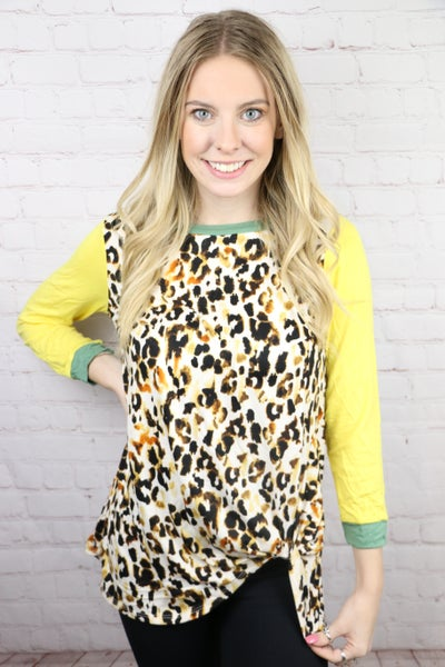 All The While Leopard Twist Top In Multiple Colors Sizes 4-20