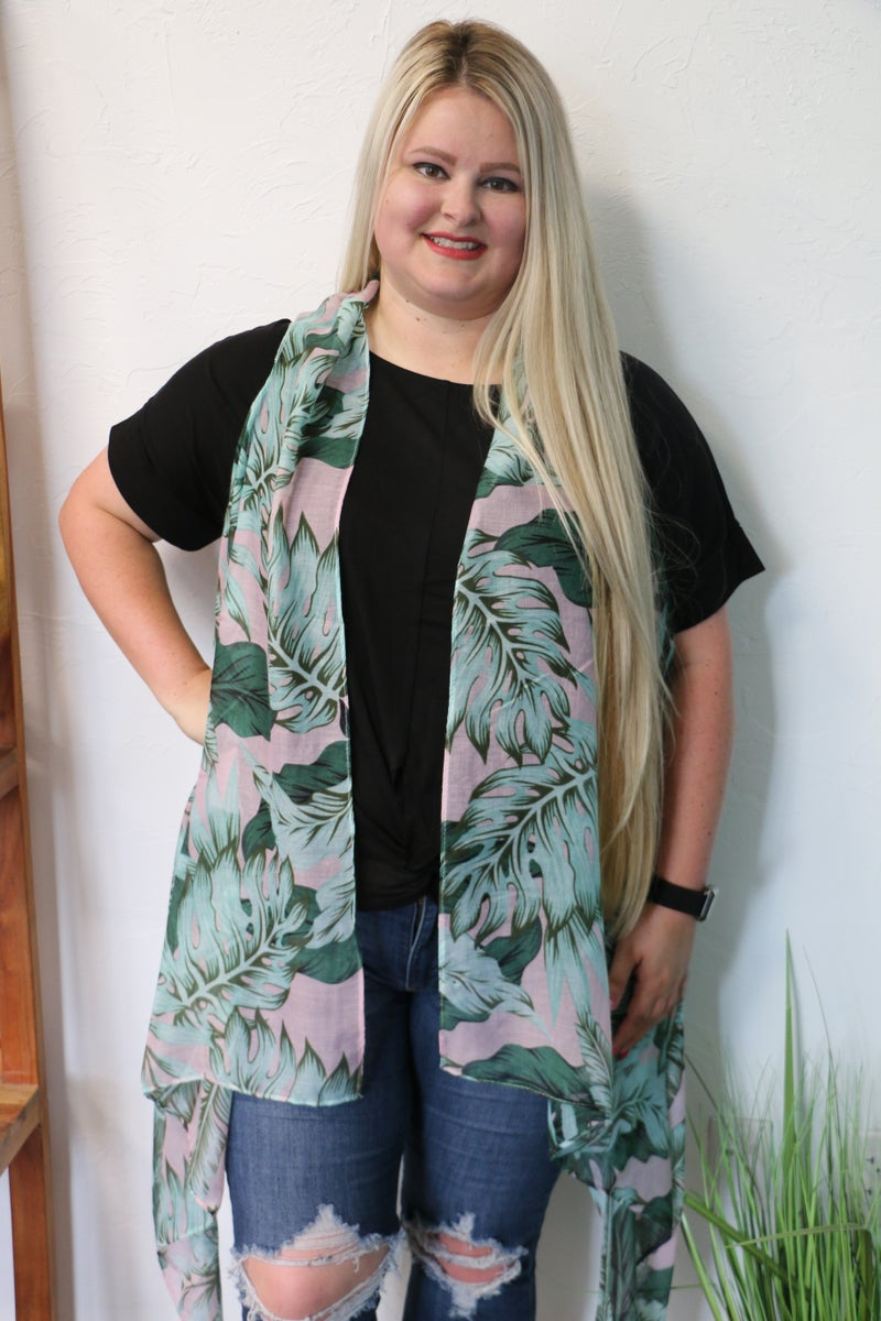In The Tropics Sheer Pink And Green Tropical Leaf Waterfall Vest - One Size