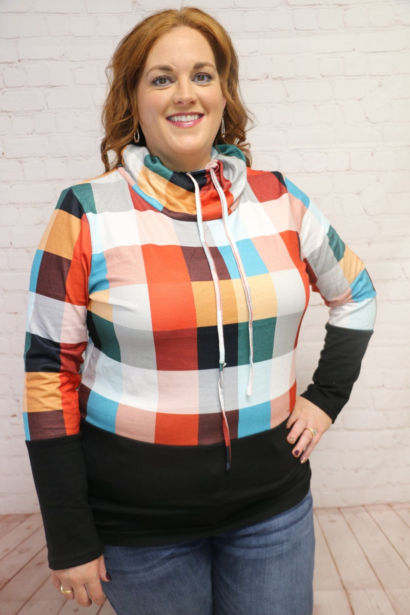 Multicolor Plaid Turtle Neck - Sizes 4-18
