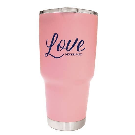Love Never Fails Stainless Steel Tumblr In Light Pink