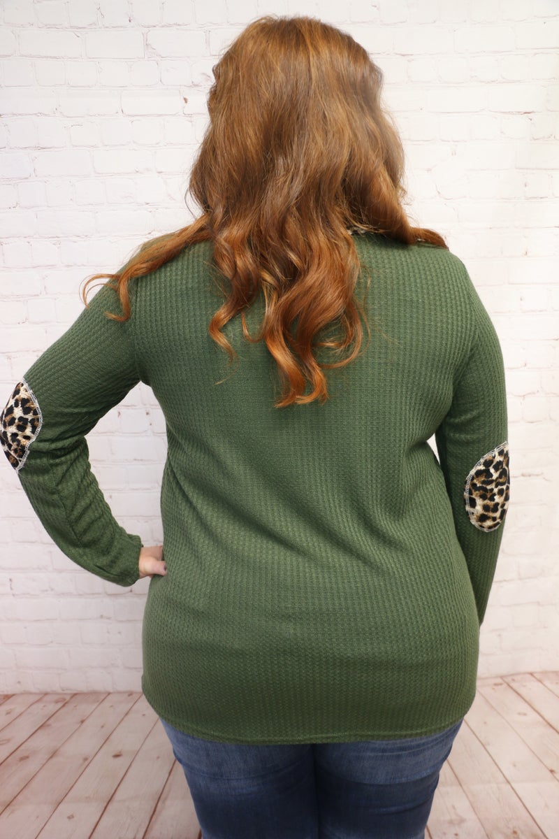Slightly Sassy Waffle Knit Top with Leopard Contrast and Elbow Patch in Multiple Colors - Sizes 4-3X