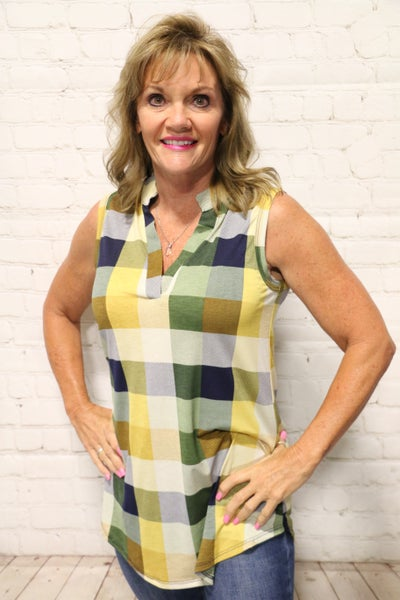 My Heart Sings Plaid Sleeveless Top in Yellow - Sizes 4-10