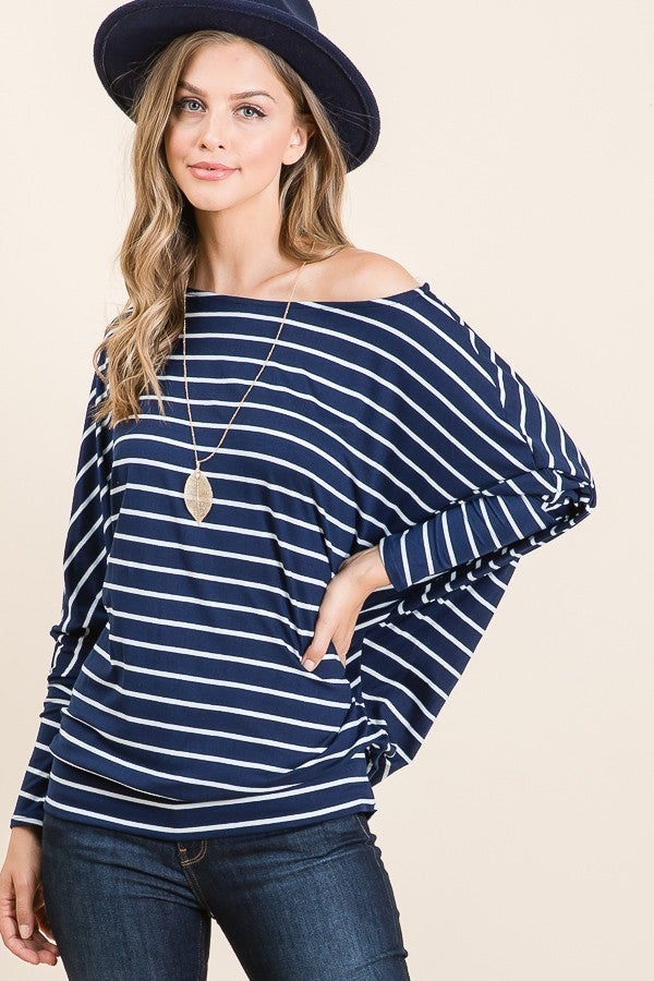The Happiest Girl Navy and White Off the Shoulder Tunic - Sizes 4-12