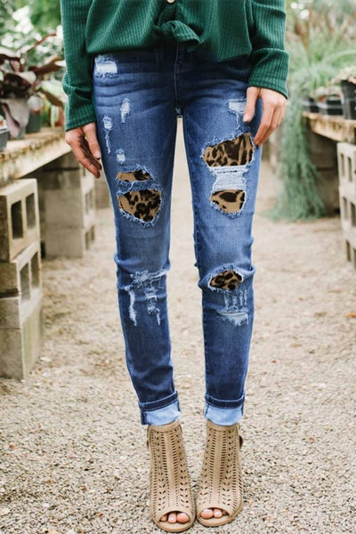 The Audrey Distressed Skinny Jeans with Leopard Patches - Sizes 4-12
