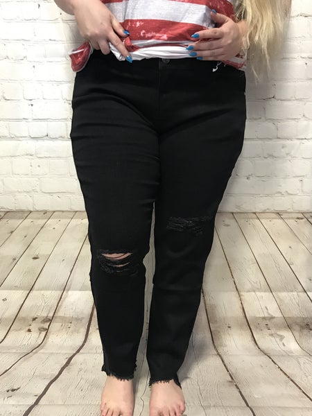 The Barb Black Distressed Skinny Jean with Raw Hem - Sizes 14-24