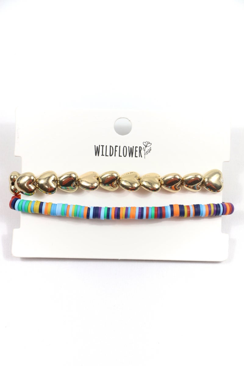 The Only One Multicolor Rubber Disc And Gold Heart 2 Strand Stretch Bracelet