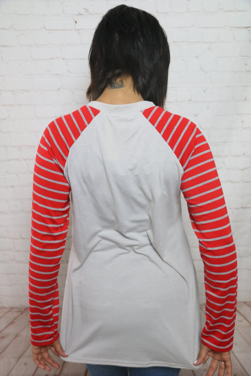 Mooey Christmas Striped Sleeve Raglan Top - Sizes 4-20