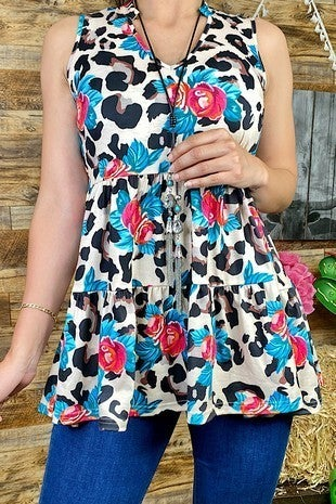 Beloved Leopard And Floral Sleeveless Tiered Ruffle Tank - Sizes 4-10