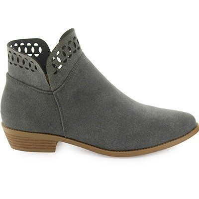 Boss Lady Gray Booties with Cut Out Accent Top Zipper on Side Sizes 5.5-10