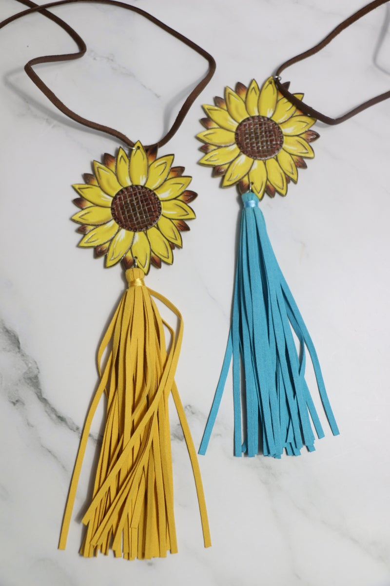 Always A Party Leather Sunflower Necklace With Leather Strap And Tassel In Multiple Colors