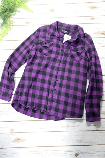 Purple Plaid Flannel Shirt In Large