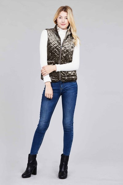 Get Excited Velour Quilted Vest in Multiple Colors - Sizes 4-10