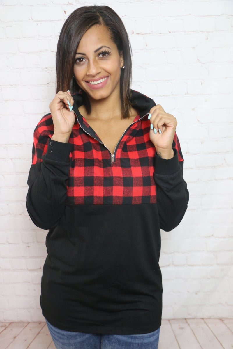 One Time Thing Buffalo Check Color Block Quarter Zip Up Lightweight Pull Over in Multiple Colors - Sizes 4-20