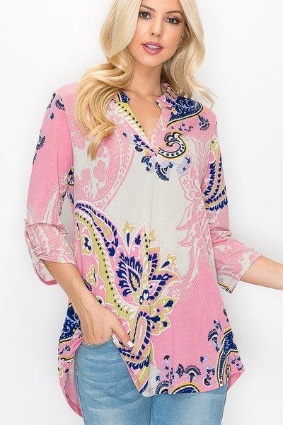 All Together Now Pink Paisley Top With Roll Tab Sleeve Detail- Sizes 4-20