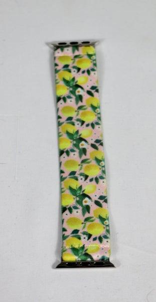 When Life Gives You Lemons Pink Lemon Print Stretch Apple Watch Band - 38/40mm
