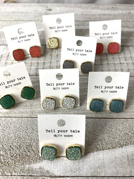 All The Days Square Druzy Earrings In Multiple Colors