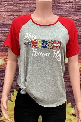May Freedom Forever Fly Gray Short Sleeve Raglan With Red Sleeves- Sizes 4-20
