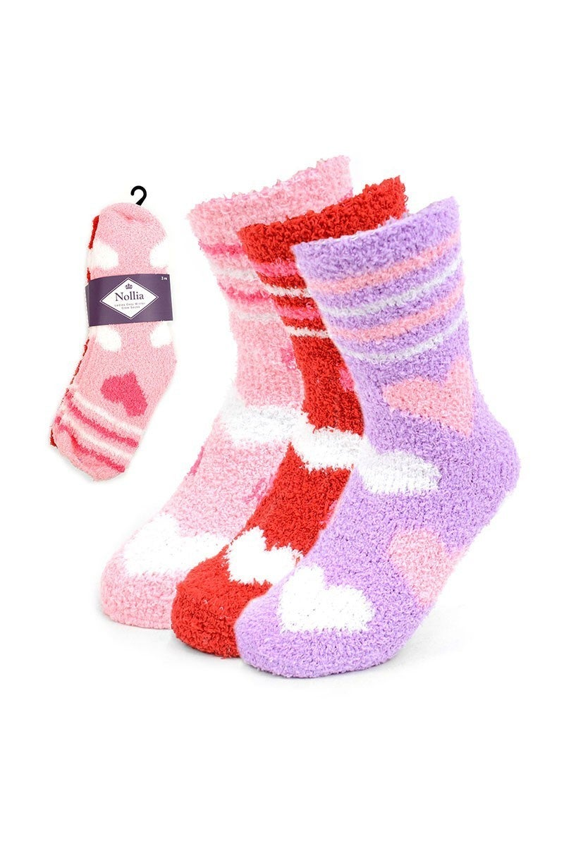 Super Fuzzy & Cozy Heart Socks - 3 Pack
