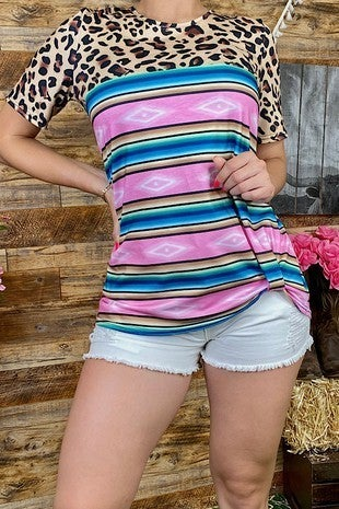 Stay Up all Night Leopard and Serape Short Sleeve Top - Sizes 4-20