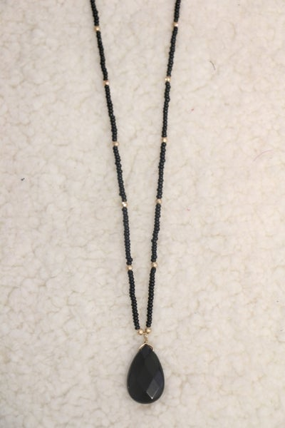 Pretty As A Picture Short Black Beaded Necklace With Black Teardrop Pendant