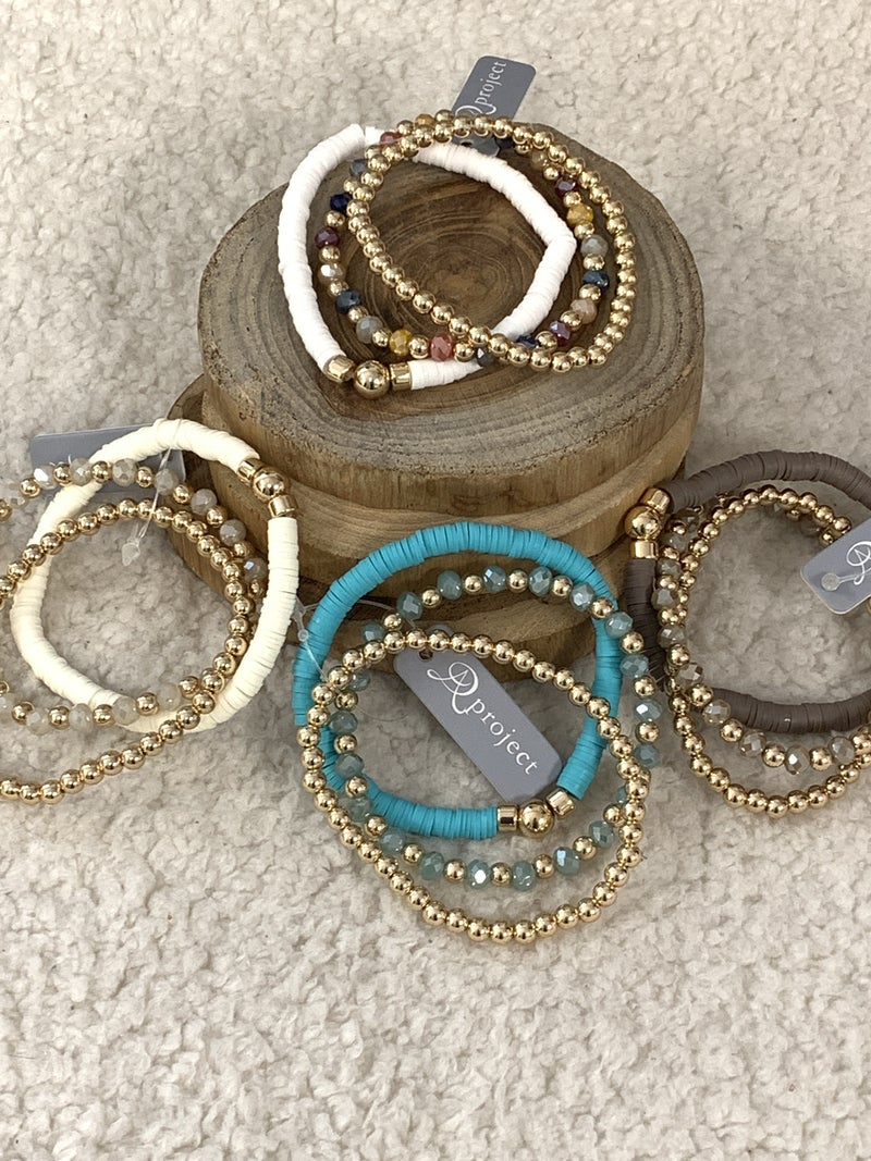 Always There 3 Strand Rubber Disc, Crystal Bead And Metal Ball Stretch Bracelet In Multiple Colors