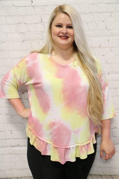 Super Soft Tie-Dye Ruffled Dolman Top in Multiple Colors - Sizes 4-20