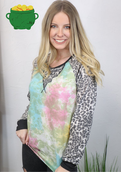 Something Special Tie Dye and Leopard Long Sleeve Top - Sizes 4-10
