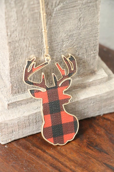 Oh Deer Long Gold Necklace With Red Buffalo Plaid Deer Pendant