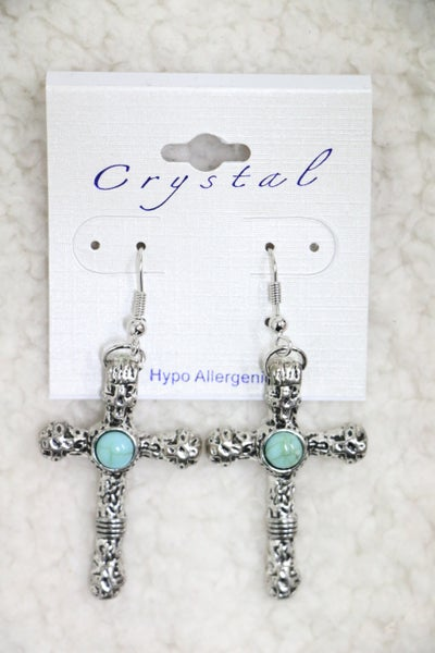 Adored Burnished Silver Cross Earring With Turquoise Bead