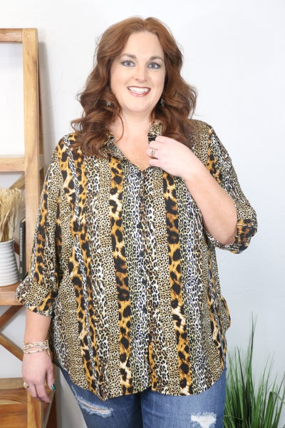 Confident Decisions Animal Print Button Down Top - Sizes 12-20