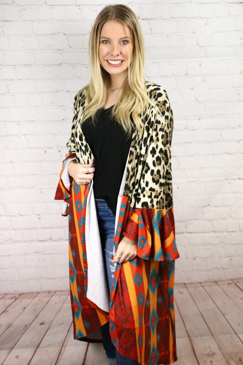 Dream In Detail Leopard & Aztec Long Cardigan with Ruffle Sleeves - Sizes 4-20