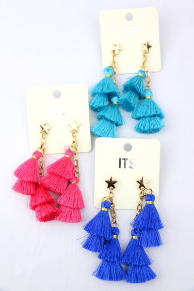 Shining Star Cascading Tassel Earring With Gold Star Post In Multiple Colors