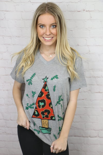 Red Leopard Christmas Tree Graphic Tee in Heather Gray - Sizes 4-18