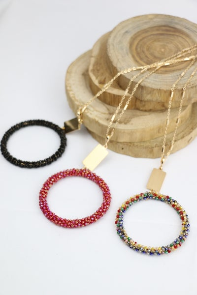 Circles Long Gold Necklace With Crystal Beaded Hoop Pendant In Multiple Colors