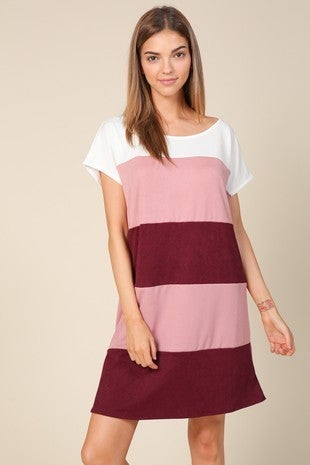 Like You Mean It Rose and Wine Colorblock Tunic - Sizes 12-20