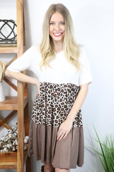 Stalk the Night Leopard, Ivory and Mocha Colorblock Short Sleeve Dress - Sizes 4-10