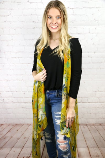 Dreaming of an Ocean Breeze Yellow Floral Waterfall Vest - One Size