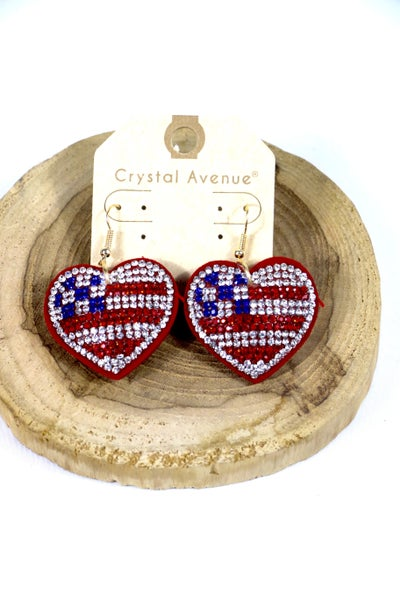 In My Heart Sparkly Flag Earring