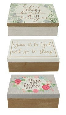 Wood Prayer Box with 50 Notecards in Assorted Designs