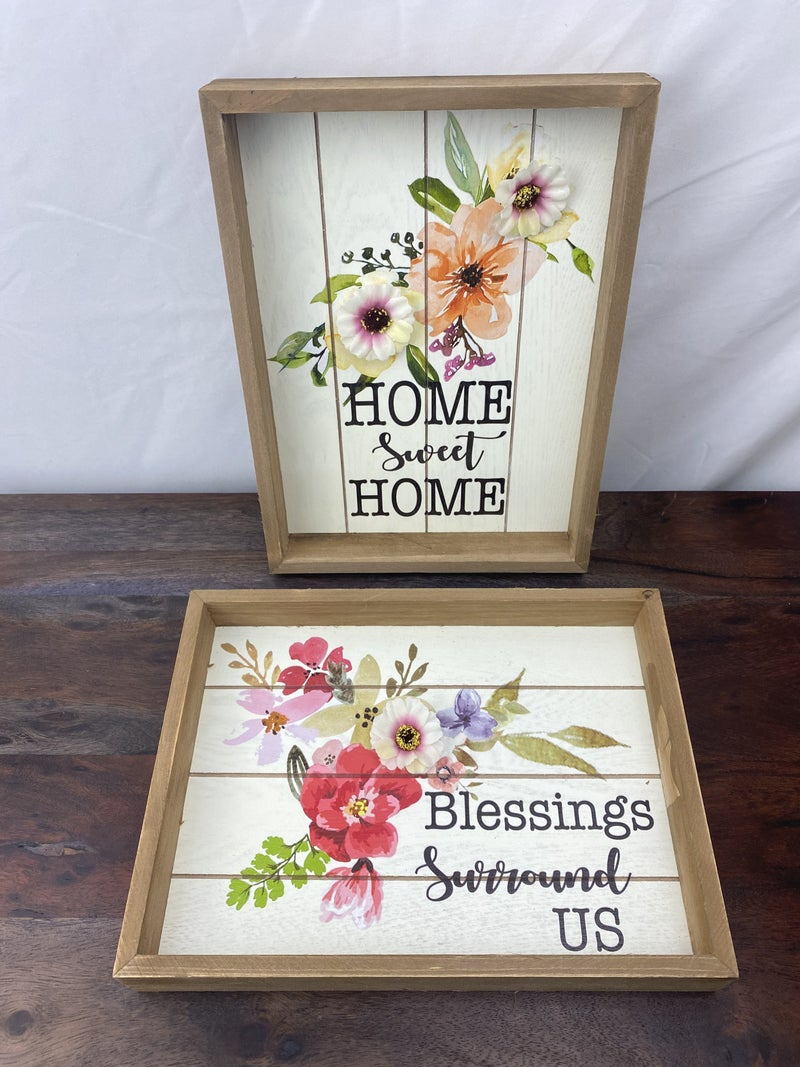 Decorative Wood Framed Decor in Assorted Prints