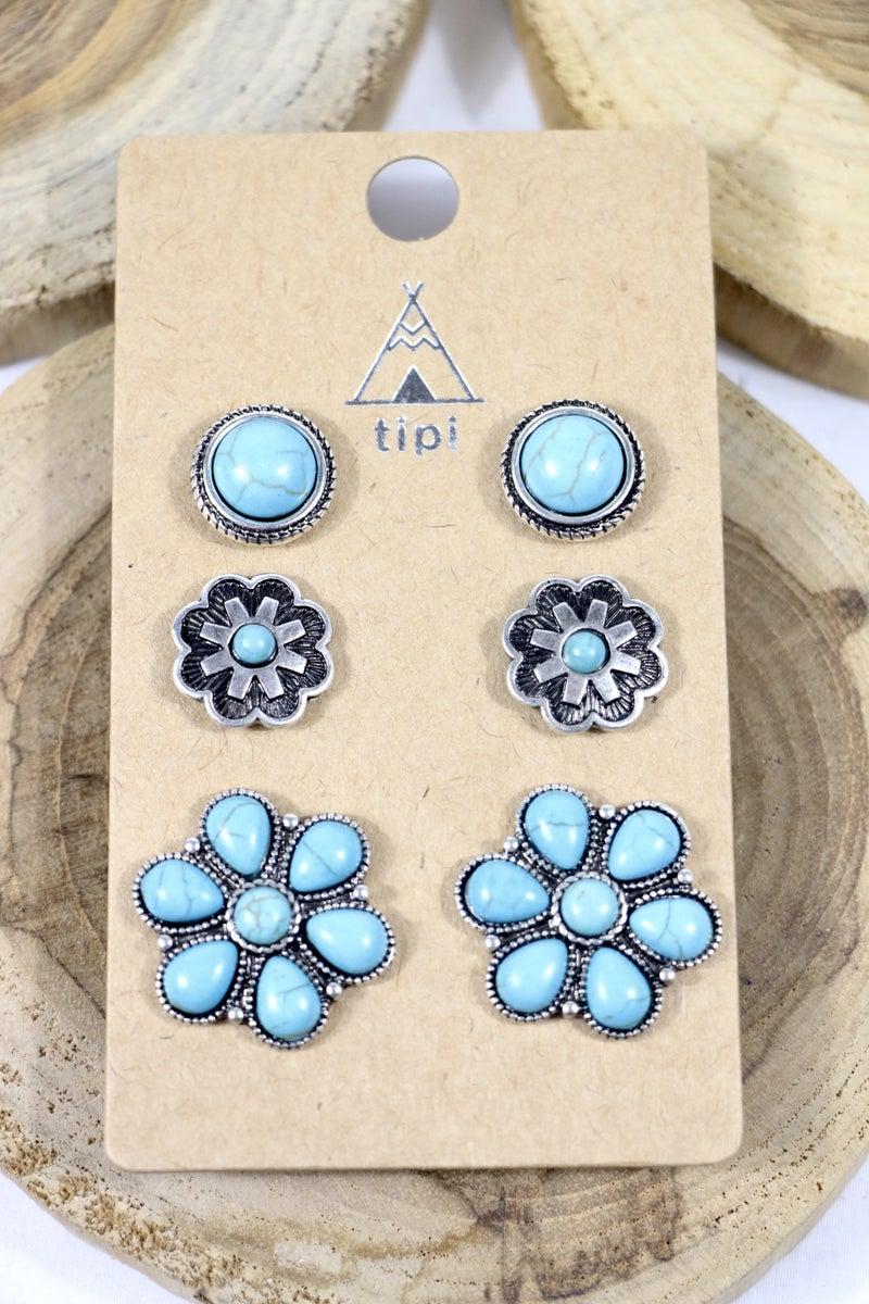 Field Of Flowers Turquoise 3 Pack Flower Stud Earrings