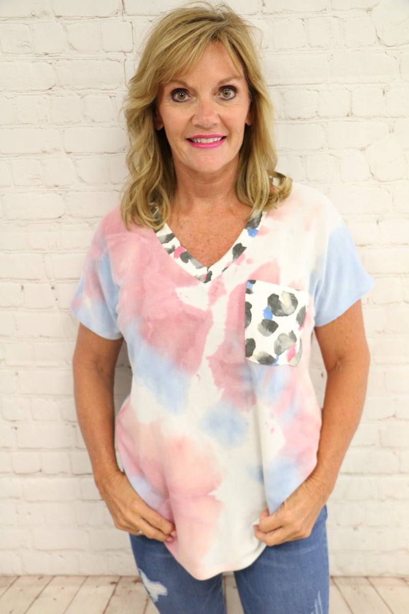 Share My Love Tie-Dye Top with Leopard Accents - Sizes 4-20