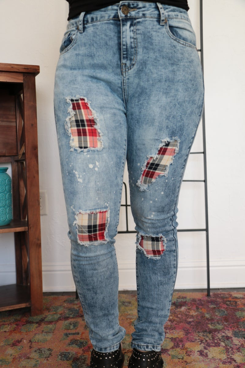 Feeling That Way Plaid Accented Distressed Denim - Sizes 4-18